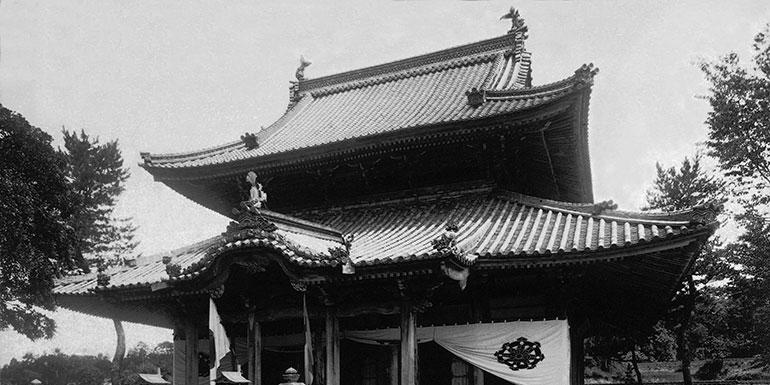 櫟野寺の改修前の本堂の白黒写真