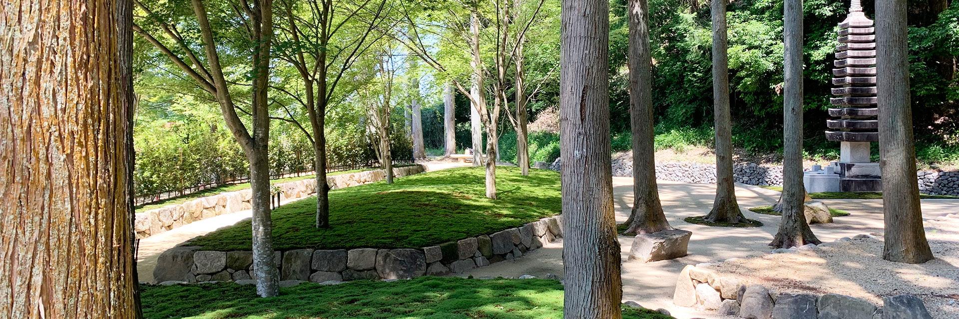 櫟野寺樹木葬墓苑の十三重の石塔の東からの風景