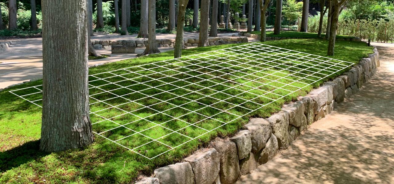 墓苑にグリッド線を引いて区画をイメージした風景