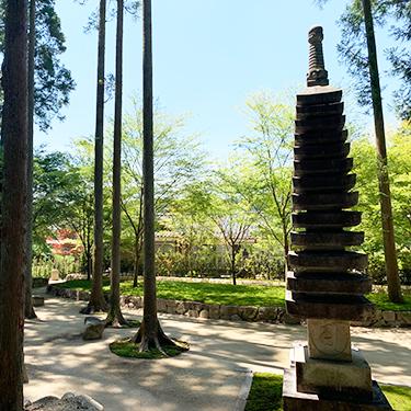墓苑の傍に十三重の石塔があり、墓苑を見守ります